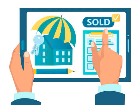 Buying real estate, concluding an agreement online, real estate agency concept vector illustration Иллюстрация