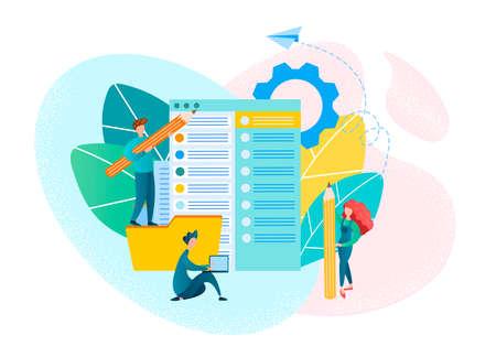 Ð¡lerical work, office teamwork Concept Vector Illustration