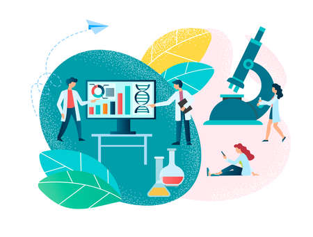 Medical diagnostics, biotechnology and genetic research. Concept Vector Illustration