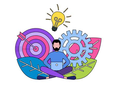 Ð¡omputer user, working at home, brainstorming, generating ideas Vector illustration
