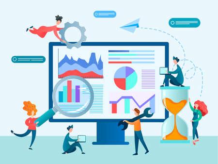 Teamwork at office concept Vector illustration. Marketers, designers, programmers set up effective website analytics