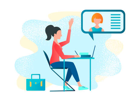 Online tutor, webinar, study, courses, master classes on the Internet Vector illustration