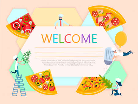 Certificate cooking courses, pizza making, online cooking lessons Vector illustration
