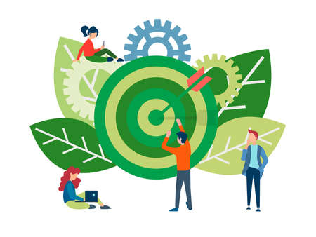 Teamwork to achieve common goals and success. Target and gears as a symbol of efficient workflow organization.
