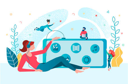 The girl and tiny people listens to music, communicates using applications in the mobile phone online. Media communication concept vector illustration.