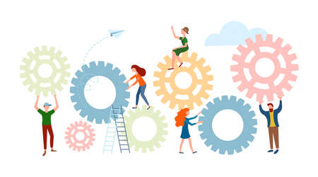 Office workers tiny people adjust gears. Conceptual vector illustration of workflow organization.  イラスト・ベクター素材