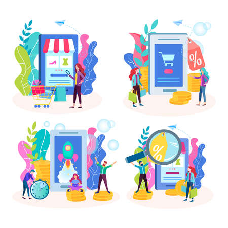 Set of vector illustrations concept of online shopping, shopping using a mobile connection, ordering and paying for goods on the Internet.  イラスト・ベクター素材