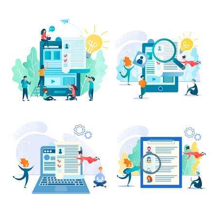 Online recruiting, job search, online resume, teamwork concept set vector illustration 写真素材