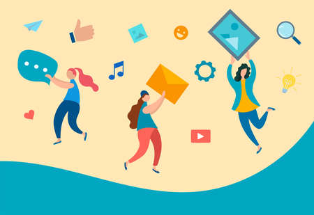 Social Media Gathering People listen to music, chat on the Internet on the beach, exchange photos and messages Concept Vector Illustration