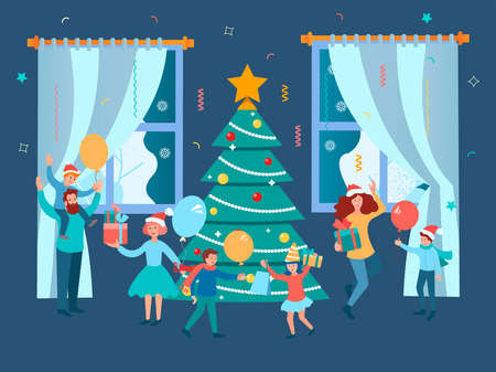 New Year Party with the family. Christmas family gatherings around the Christmas tree. Concept vector illustration