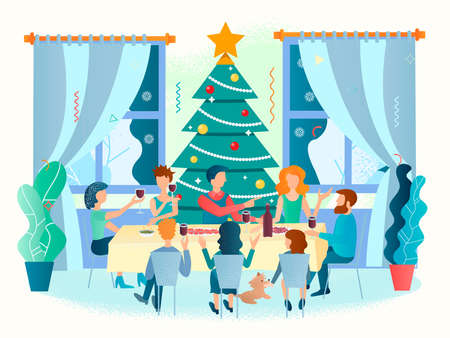 Family New year gathering Concept vector illustration