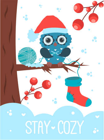 Stay Cozy Love Winter Concept Vector illustration An owl wearing a Santa Claus hat knits a Christmas sock in a winter forest  イラスト・ベクター素材