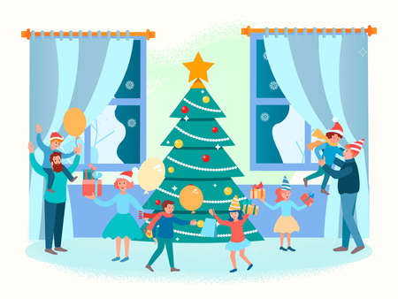 Christmas family gatherings around the Christmas tree. New Year with the family. Concept vector illustration