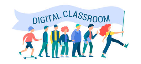 Digital classroom, education, group of students, teamwork, tutorial and educational courses Concept Vector Illustration