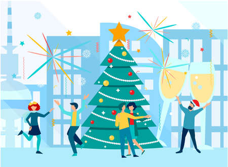 Young people dance, celebrate New Year and Christmas on the background of a big city. Merry christmas and happy new year concept vector illustration