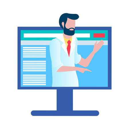 Medical diagnostics online, laboratory research and online doctor consultation. Vector illustration.  イラスト・ベクター素材