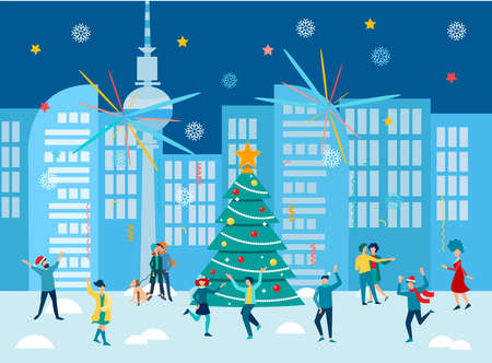 Fireworks and New Year's Eve celebrations in the city. Merry christmas and Happy New Year Concept vector illustration