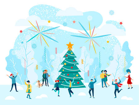 Cheerful people celebrate new year and christmas near a new year tree in nature on a snowy glade, fireworks.