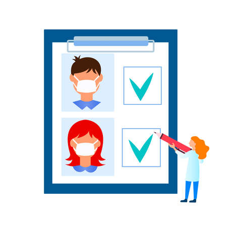 Medical analyzes, tests for antibodies of coronavirus, coronavirus immunity. Masked people in the questionnaire that the doctor fills out. Vector illustration