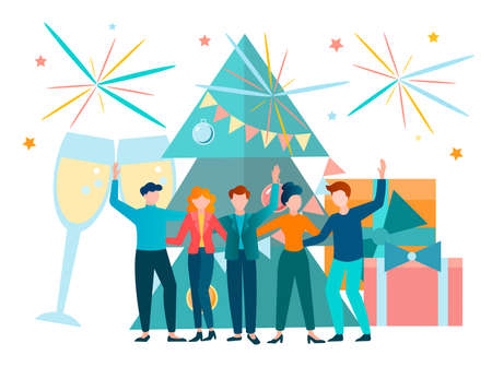 New year and Christmas Party in the company of friends with fireworks and champagne. Vector illustration. Stock Illustratie