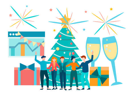 Business team colleagues celebrate New Year and Christmas with fireworks and champagne. Corporate party in the company of colleagues vector illustration.