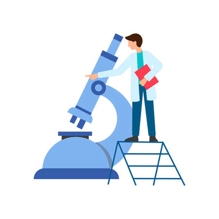 Medical diagnostics, laboratory research, virus test concept. The doctor looks through the microscope. Vector illustration. 向量圖像