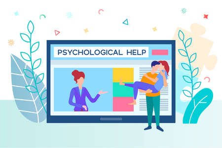 Psychological assistance for couples. Psychological help online. A couple in love made up at a psychologist's appointment and are happy together.