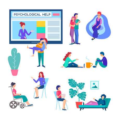 Set of vector illustrations on the topic of Psychological help at an appointment with a psychologist, doctor, psychotherapist and online. Stock Illustratie