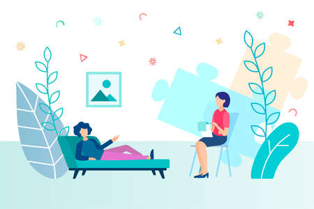Psychological help concept vector illustration. A girl on a couch at a psychologist's appointment.