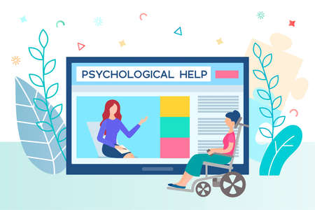 Psychologist for people with disabilities. Psychological help online concept vector illustration.