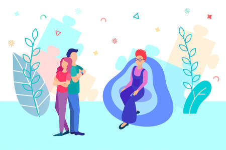 A couple of young people at a psychologist's appointment. Psychological help concept vector illustration Vektorové ilustrace