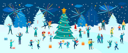 Carnival, dancing, New Year and Christmas Eve celebration against the backdrop of a winter landscape. People have fun and celebrate New Year and Christmas. Concept vector illustration