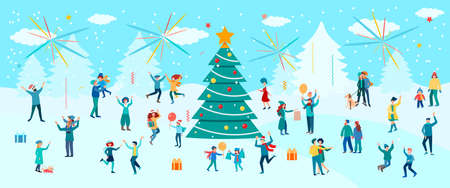New Year and Christmas on the background of a winter landscape. People and children dancing and having fun around the Ð¡hristmas tree, gifts and fireworks. New year holiday concept vector illustration