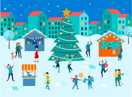 The townspeople dance and have fun for Christmas and New Years at the Christmas and New Year's gifts and sweets fair. Concept vector illustration New year and Ð¡hristmas in the Ð¡ity