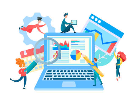 Web development Concept Vector Illustration. Programmers and web developers are working on creating a selling website and web analytics.