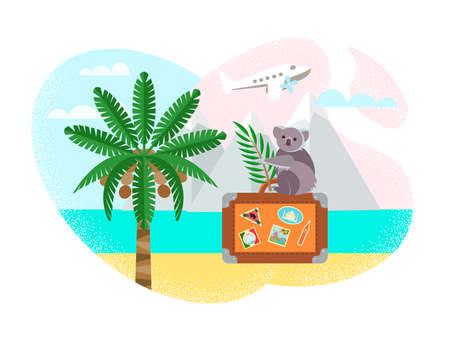 Travel around the world concept vector illustration. Koala sits on a suitcase with stickers from travels on the background of a landscape of mountains, ocean, palm tree, beach.