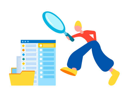 File Searching Concept Vector illustration. Tiny person using magnifying glass and searching files in electronic database.