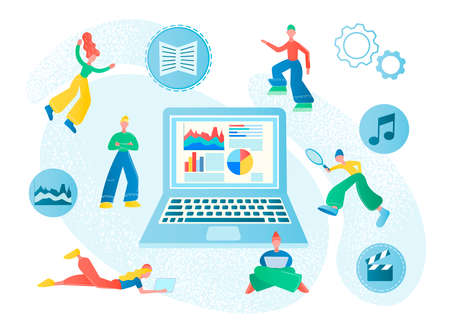 Tiny Millennials work, study, and play online, teamwork concept, modern IT technologies. Analysis teamwork. Vector illustrations for social media, web design and posters.