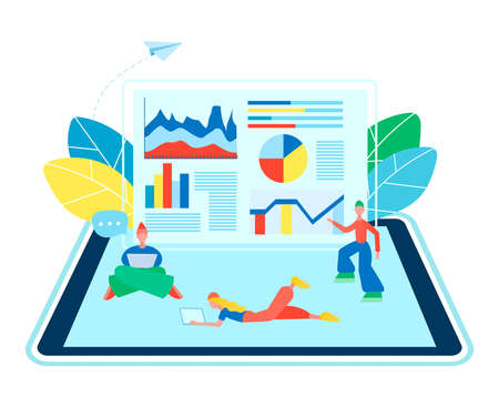 Tiny people on a tablet display work online against the background of a website page with infographics. Vector illustration internet technology concept. Stock Illustratie