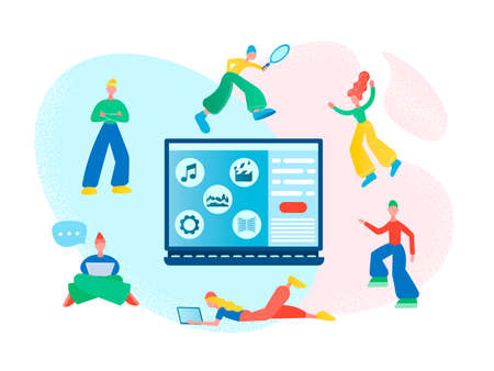 Tiny people character Online work and entertainment File storage technology, sharing, remote worker, network industry Concept vector illustration Stock Illustratie