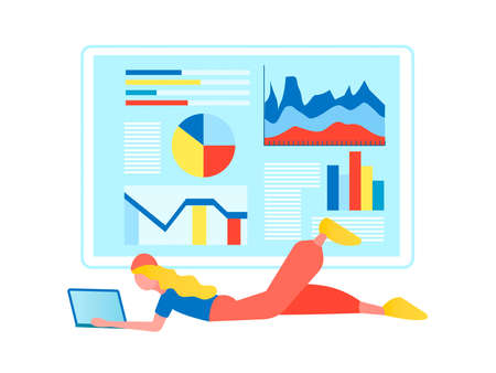 Young millennial girl working on computer, remote work concept vector illustration, web analytics, website page with infographics 向量圖像