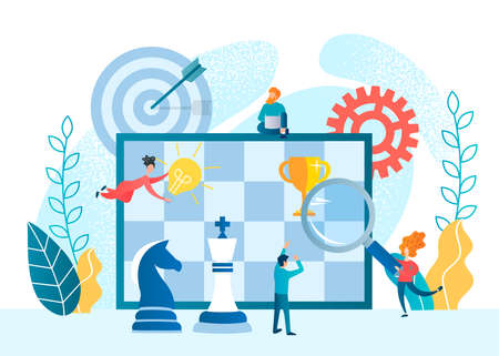 Tiny people build a strategy for winning a chess game. Concept Business analytics and business strategy vector illustration.