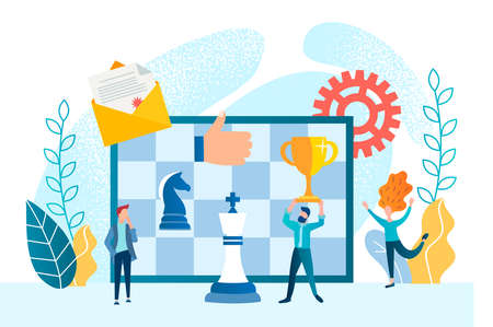 Business planning and business strategy concept vector illustration. Tiny people build strategies to win a chess game. Stock Illustratie