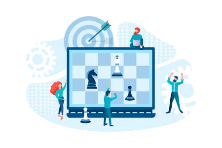 Chess strategy as a symbol of business strategy supported by web analytics. The knight threatens the king on the chessboard on the laptop display. Tiny employees assess the situation and make decisions. Stock Illustratie