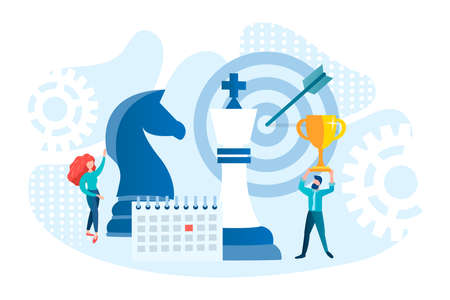 Business planning and business strategy for a successful project concept vector illustration. Chess pieces as a symbol of strategic decision making.