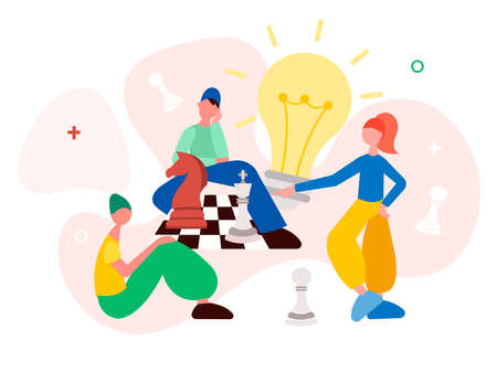 Young millennials people build a strategy for winning a chess game. Business and study analytics and strategy concept vector illustration.