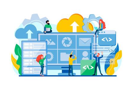 Data center, digital privacy, database security, modern computer technology, protection, file storage concept vector illustration. Teamwork Data management vector illustration. 向量圖像