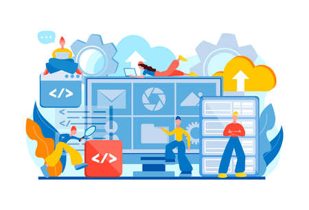 Data storage, Database protection, data center secure, Teamwork tiny people programmers Data management vector illustration Stock Illustratie