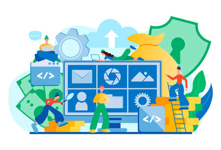 Data management, data privacy, data security, file storage, database safety, cloud technology. Tiny people programmers teamwork protect network server Stock Illustratie