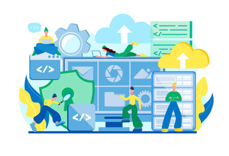 Cloud computing, cloud storage, data center security concept vector illustration. Tiny people programmers work in a team to ensure database security. Stock Illustratie